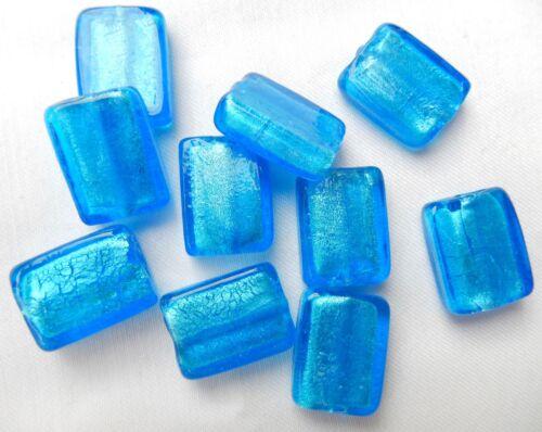 10 of 20mm x 15mm x 7mm ice blue handmade foil rectangle glass beads