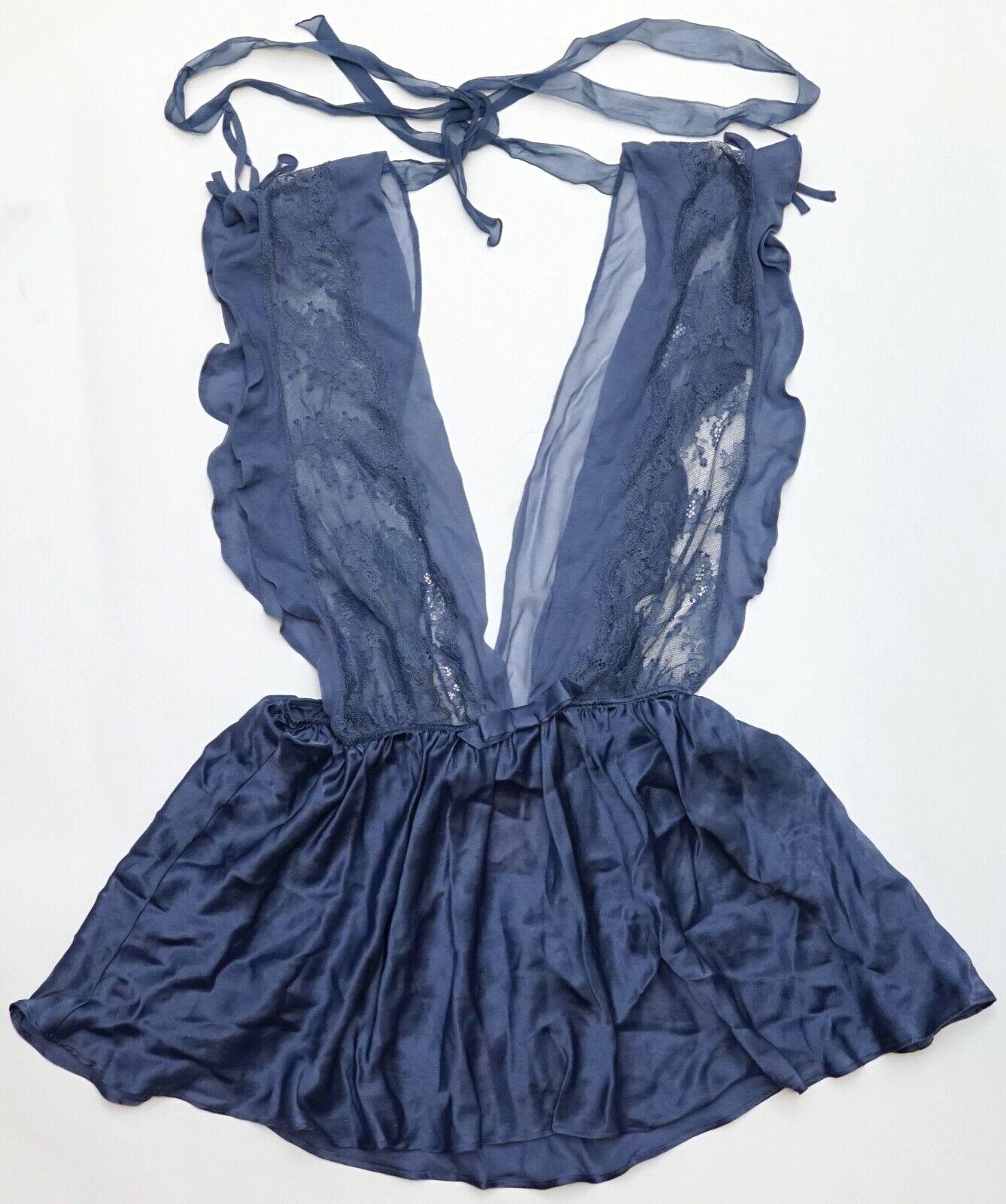 New Victoria's Secret Designer Collection bluee Silk Lace Teddy Lingerie Dress S