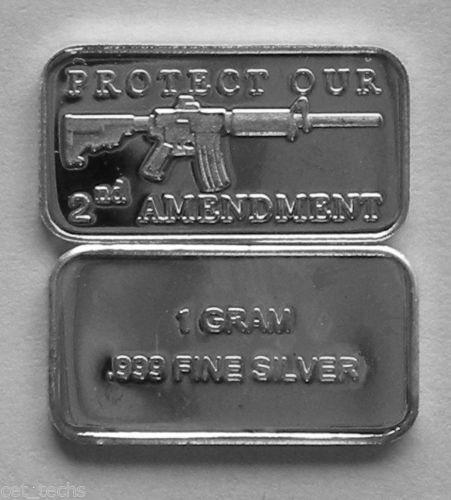 AR-15 2ND AMENDMENT ART-BAR 1 Gram .999 Fine//Pure//Solid Silver