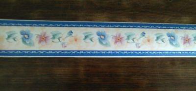 Bordo per cucine greca in carta con fiorellini uccellini casetta con scritta wel