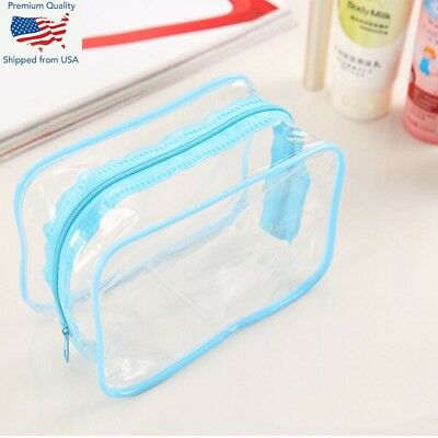 Clear Transparent Plastic PVC Travel Makeup Cosmetic Toiletries Zip Bag Pouch