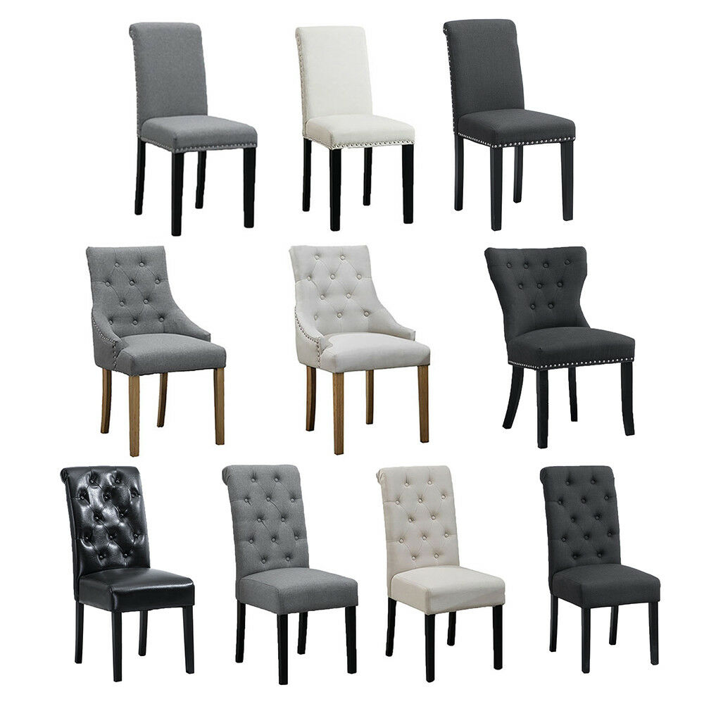 4 Pcs Fabric Dining Chair Set With Oak