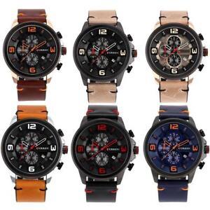 CURREN-Men-039-s-Calendar-Big-Font-Dial-Watch-Leather-Band-Analog-Quartz-Wristwatch