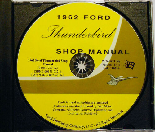 1962 Ford Thunderbird Shop Manual CD-ROM
