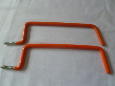 NEW 5 Of Ladder Utility Red Plastic Coated Steel Hooks 245Mm Long x 6.7Mm Dia.
