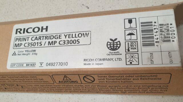 Genuine Ricoh 841437 Yellow Toner for Aficio MP C3001 C3501 C3300 New Never Used