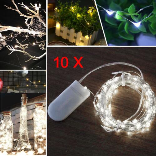 10Pc 20LED Blanc Froid Micro Fil Cuivre String Lights bouteille Fée Fête de mariage