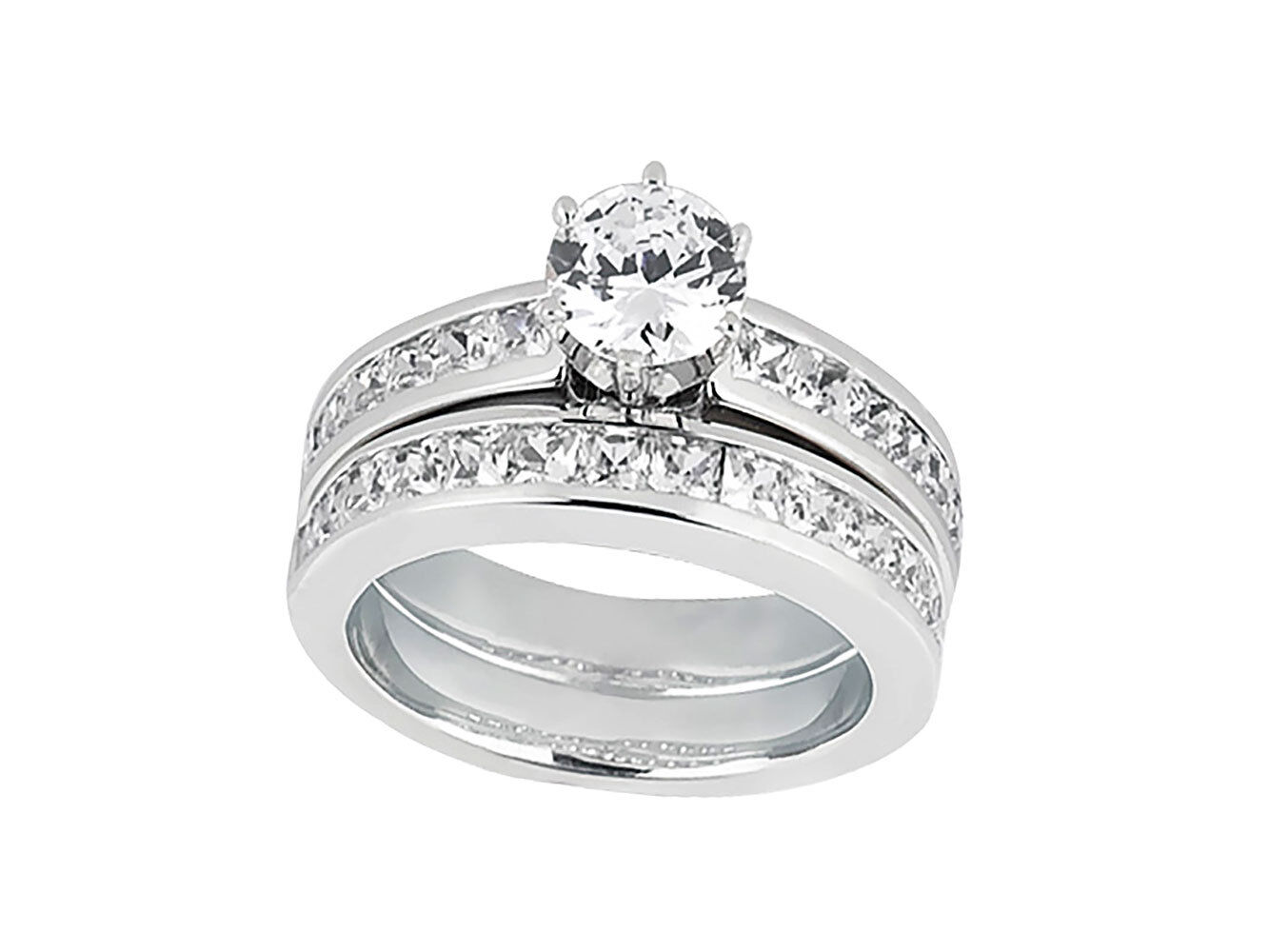 Genuine 1.75Ct Round Princess Diamond Engagement Ring Set Solid 10k gold GH I1