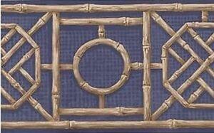Wallpaper-Border-Bamboo-Lattice-on-Blue-Background