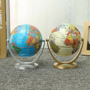 """4"""" Stand 360° Rotating World Globe Map Kids Student Geography Educational Gift"""