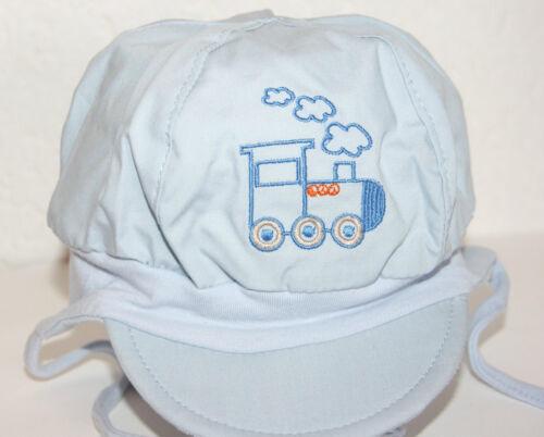 Jungen Baby-Mütze hellblau Lokomotive GR.47 NEU OVP