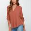 Summer-Women-Loose-V-Neck-Chiffon-Long-Sleeve-T-Shirt-Blouse-Casual-Collar-Tops thumbnail 16