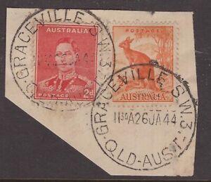 Queensland-nice-GRACEVILLE-S-W-3-1944-complete-postmark-x-2-on-KGV1-piece