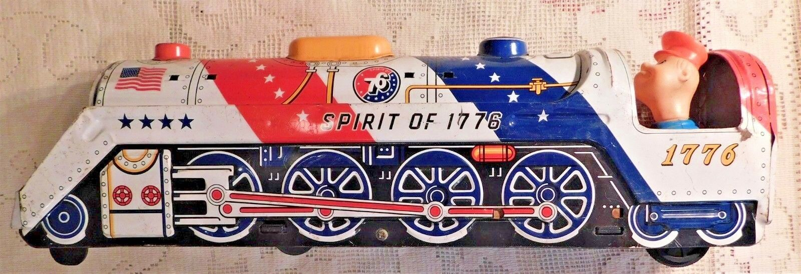 VINTAGE 1950's MODERN TOYS JAPAN  SPIRIT OF 1776  BATTERY OPERATED TIN TOY TRAIN