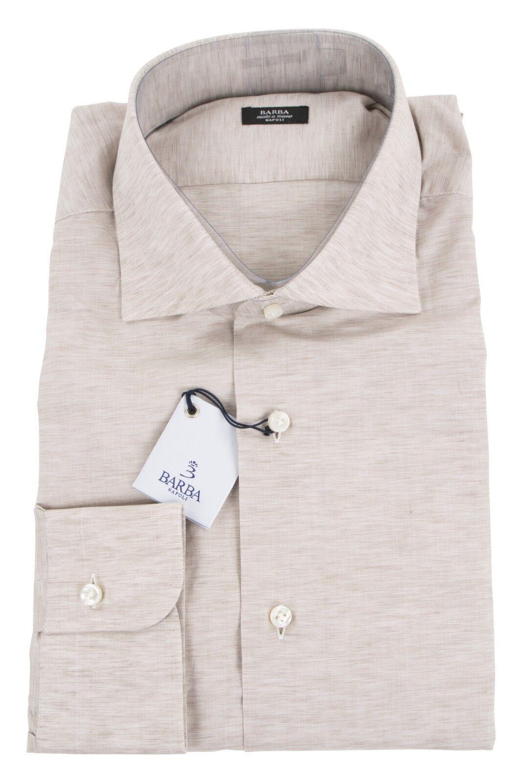 Barba 49% Cotton/51% Linen 17/43 Dress Shirt Sand Braun
