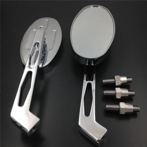 Chrom Oval Shape Side Rearview Mirror For All Honda Suzuki Kawasaki Cruiser bike