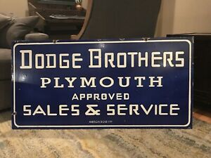 Vintage-Dodge-Plymouth-Dealer-Double-Sided-Porcelain-Sign