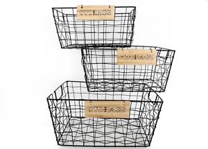 Image Is Loading Rectangle Black Retro Wire Storage Baskets Fruit Crates