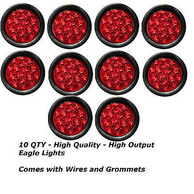 """4/"""" Inch Red 12 LED Round Stop//Turn//Tail Truck Light with Grommet /& Wiring-Qty 4"""