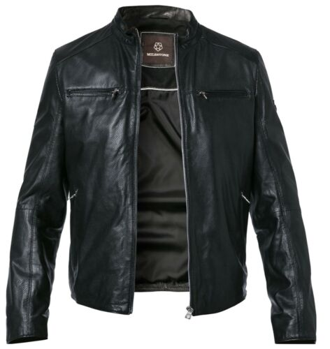 Milestone señores chaqueta de cuero Dave oveja cuero de piel perforada rigida chaqueta en negro