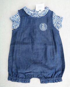 BNWT-NEXT-Baby-Girls-2-Piece-Romper-All-In-One-amp-Matching-Bodysuit-Newborn-10lbs