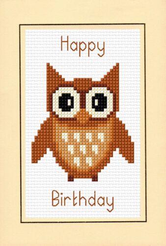 "HAPPY BIRTHDAY-Marrone Cartoon Owl cross stitch A6 CARD KIT 4 /""X 6/"" 14 Count"