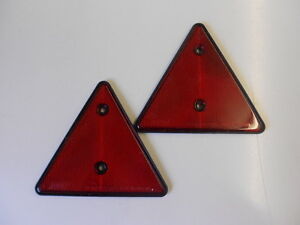 2 x  RED REFLECTIVE TRIANGLES for Trailer, Horsebox, Caravan