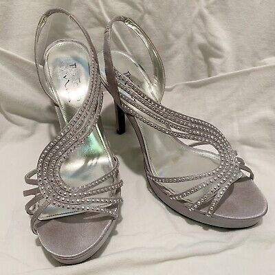 Heels Official Website The Touch Of Nina Women's 8.5 Silver Platform Heals Rhinestones Formal Prom Save 50-70%