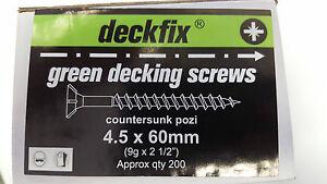 200 Green decking screws 4.5x75mm pozidrive csk