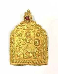 Vintage antique Solid 20k Gold jewelry Goddess Durga Pendant Amulet