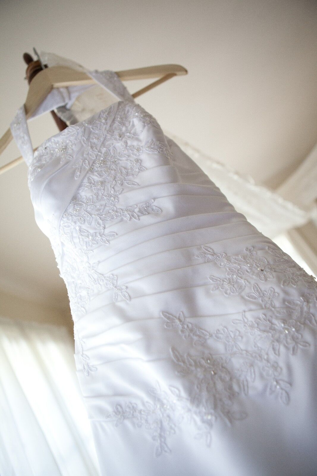 David's Bridal Collection Womens A-Line Ruched Bodice Wedding Dress 6 White