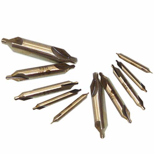 10 Stück 60° Zentrierbohrer HSS Kombiniert Center Bohrer Senker Bohren Bit 1-5mm