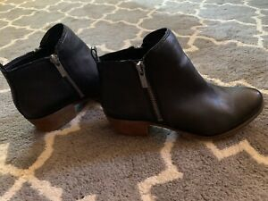 Lucky-Brand-Black-Leather-Side-Zip-Ankle-Fashion-Booties-Boots-Size-5-5-M-GUC