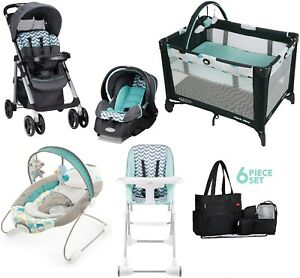 Baby Trend Stroller With Car Seat Playard High Chair Diaper Bag Travel System