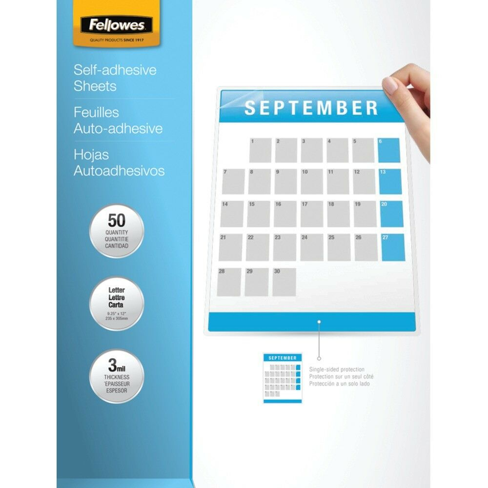 FELLOWES Fellowes 9  X 12  Self-adhesive Laminating Sheets, 50 Pk