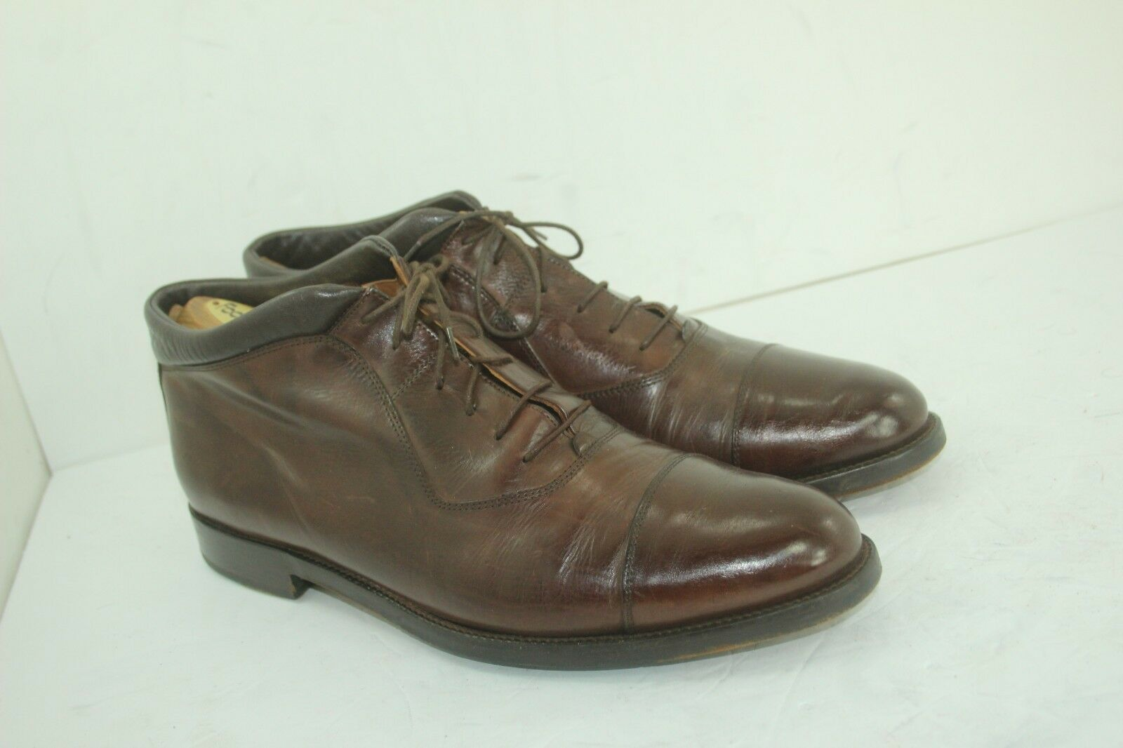 JOHNSTON MURPHY DOMANI BOOTS SIZE 11.5 M BROWNS LEATHER IN GOOD CONDITION