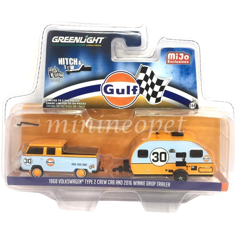 vertlight 51114 C 1968 VOLKSWAGEN TYPE 2 Crew Cab & 2016 Winnie Drop Gulf 1 64