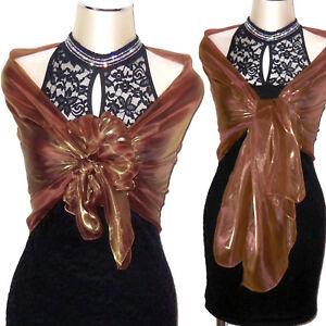 a basso prezzo 6bde3 86b5f Dettagli su Stola CERIMONIA bronzo marrone bronzato scialle sciarpa VEDI  D0241