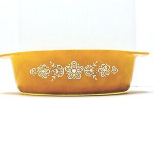 Vintage 1970s Pyrex Harvest Gold Butterfly #045 2.5 QT Casserole Oval No Lid