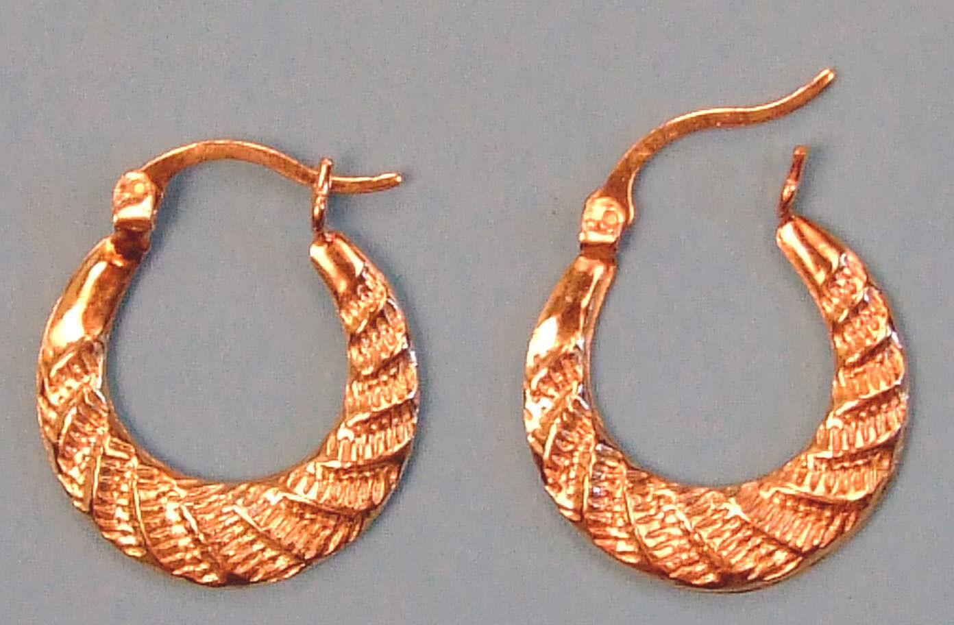 Basket Weave Design Hoop Earrings  - 10k Yellow gold