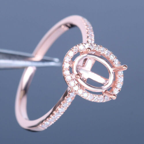Semi Mount Oval 6x8mm Solid 10K Rose Gold Natural Diamonds Wedding Ring Jewelry