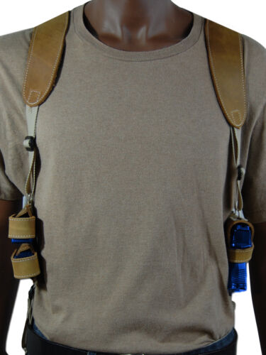 Barsony Olive Drab Leather Shoulder Holster w// Dbl Mag Pouch Taurus Comp 9mm 40