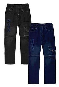Jean-garcon-Neuf-Enfants-Bleu-Noir-Pantalon-De-Survetement-Coupe-Droite-Denim-Pantalon-Age-2-12-Ans