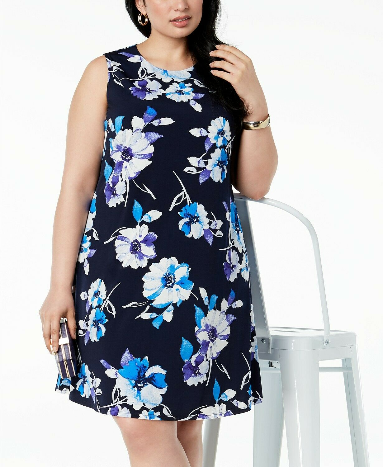 Jessica Howard NEW Woherren Floral-Print Shift Dress 22W Navy Retail
