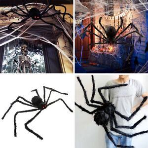 Spider-Halloween-Decoration-Haunted-House-Prop-Indoor-Outdoor-Black-Giant-300-mm
