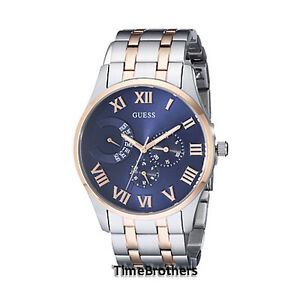 new guess watch for men blue dial two tone rose gold silver image is loading new guess watch for men blue dial two