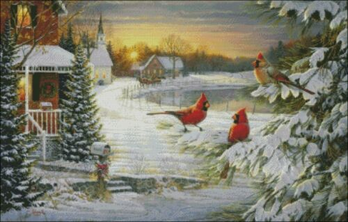 Chart Counted Cross Stitch Patterns DIY Needlework DMC Country Winter Pond