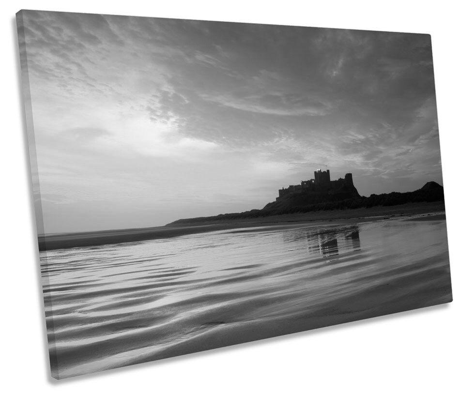 Castillo De Bamburgh Northumberland Sunset Sunset Sunset B&W SINGLE LONA parojo arte Foto impresión 8b66f6