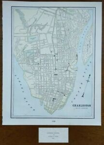 Vintage-1900-CHARLESTON-SOUTH-CAROLINA-Map-11-034-x14-034-Old-Antique-Original-SC