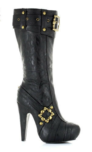 Black Womens Footwear Knee High Steampunk Boots